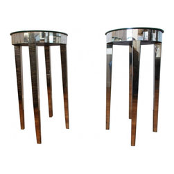 French Deco Mirrored Side Tables - Add instant glamour to your home with this vintage French Deco side tables.