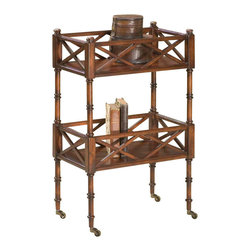 Butler Specialty - Butler Foster Plantation Cherry Mobile Server - Selected hardwoods and choice cherry veneers. Matched cherry veneer top with maple and walnut inlay design. Four antique brass finished casters.