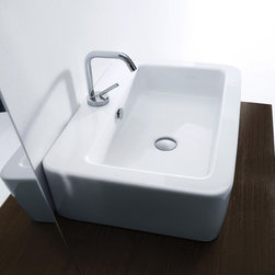 "WS Bath Collections - Ego 23.6"" x 16.9"" Wall/Counter Ceramic Sink - Ego by WS Bath Collections Bathroom Sink 23.6 x 16.9, Wall Hung or Counter Top Installation in Ceramic White, With One Faucet Hole Centered, Made in Italy"