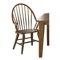 Liberty Furniture - Liberty Furniture Hearthstone Windsor Back Arm Side Chair in Oak, Medium Wood (S - Everyone is drawn to the past, a simpler time, a simpler way of life. Hearthstone draws it's inspiration from the past with a true and honest design. With vintage appeal, Hearthstone is a casual, rustic style that never goes out of fashion. Elements of shaker and craftsman designs are combined with a rustic oak finish and accents of slate. What's included: Side Chair (can only be purchased in sets of 2).