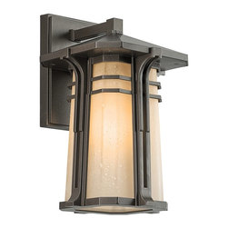 BUILDER - KICHLER 49175OZ North Creek Arts and Crafts/Mission Outdoor Wall Sconce - The North Creek collection focuses on the comfortable and warm feel of cottage design. The gently tapered Light Umber etched seedy glass, shallow pitched roof line and the parallel rings in Olde Bronze shout mission.