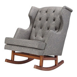 Nurseryworks - Limited Edition Empire Rocker Perennial | Nurseryworks - Design by Nursery Works.Organic shapes reminiscent of the garden add subtle charm to the Limited Edition Empire Rocker Perennial. An oversized tufted wing-back frame creates an eye-catching piece for the modern nursery. Hand-crafted and upholstered, this rocker features a tufted back that ensures a comfortable seat with just the right amount of give. Empire's ash hardwood rockers make it easy to soothe baby to sleep with a smooth gliding motion. With unique style and beautiful craftsmanship, the Limited Edition Empire Rocker Perennial, is the crowning piece for the modern nursery.Product Features:  Polybrominated Dipheneyl Ethers (PBDEs) Free Ash hardwood legs 100% woven natural fiber cotton Constructed and upholstered by hand Fabric custom milled in Mississippi