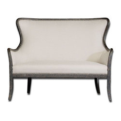 Uttermost - Sandy White Loveseat - Shimmery, Sandy White Woven Tailoring Features Teflon(R) Fabric Protector And Brass Nail Accents. Exposed Wood Frame Is Solid White Mahogany With Reinforced Joinery And Hand Applied, Weathered Black Finish. Matching Wingchair Is Item #23073.