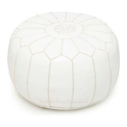 Moroccan Pouf, White - Rest your feet or favorite pile of books in style with a Moroccan pouf. The perfect compliment to any room, poufs add just the right amount of oomph to an interior. Available in white, black, brown, silver, turquoise, red, orange, fuchsia, gold.