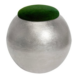 """Worlds Away - Worlds Away Tabouret Hammered Silver Green Velvet Stool - The Worlds Away Tabouret stool offers the mod interior a bold metallic seat. Atop a textured, round silver base, the rich green velvet upholstery captivates. 21"""" Dia x 21""""H; Hammered silver leaf base; Green velvet upholstery"""