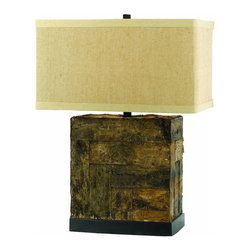 """AF Lighting - AF Lighting 8116-TL Horizon Series Table Lamp with Real Bark Base & Linen Shade - This is a brand new lamp from AF Lighting (model # 8116-TL). The Bark table lamp is an exclusive design by Kathy Kuo. Bringing nature indoors, this genuine bark silhouette sits on a metal base. Topped with a rectangular linen hard back shade, this piece measures 26.5"""" H by 18"""" W and requires 1-100-Watt Edison base bulb (not included). Due to hand crafting, no two are exactly alike. This lamp retails for $428.00."""