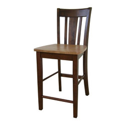International Concepts - San Remo Counter Stool w Solid Wood Seat - Counter height. Box seat construction. Solid wood seat. Made of solid wood. Assembly required. 17.25 in. W x 20.75 in. D x 38.5 in. H (21 lbs.). Seat height: 24 in.