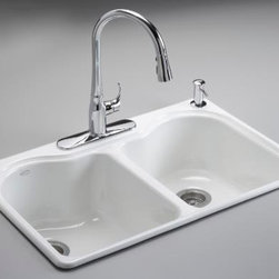 KOHLER - KOHLER K-5818-4-0 Hartland Self-Rimming Kitchen Sink - KOHLER K-5818-4-0 Hartland Self-Rimming Kitchen Sink with Four-Hole Faucet Drilling in White
