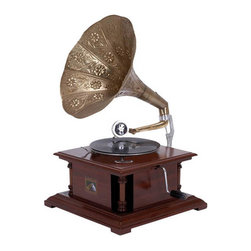 ecWorld - Antique Replica Dark Wood Phonograph Gramophone with Large Engraved Brass Horn - Handcrafted in India using quality dark pinewood for the box casing, and real brass for the horn.
