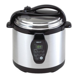 Nesco - Digital Electric 6-qt. Pressure Cooker - Features: -Digital electric pressure cooker.-Brushed stainless steel exterior.-Cuts cooking time by up to 70%.-Self locking lid with automatic pressure release.-Delayed start up to 8 hours.-Slow cook up to 9.5 hours.-LED display and soft touch buttons.-Cool touch lid and handles.-Removable dishwasher safe non stick cook well only.-Capacity: 6-qt..-Includes cooking rack/trivet.-Includes instruction/recipe book.-Distressed: No.Dimensions: -13.25'' H x 13.5'' W x 11.75'' D, 12 lbs.-Overall Product Weight: 12lbs.Warranty: -Manufacturer provides one year warranty.