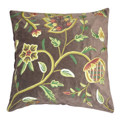 Crewel Fabric World - Crewel Pillow Delphinium Dark Chocolate Cotton Velvet 20x20 Inches - Artisans in a remote mountain village in Kashmir crewel stitch these blossoms, vines and leaves by hand, resulting in a lush pattern of richly shaded wool yarns on Linen, Cotton, Velvet, Silk Organza, Jute. Also backed in natural linen, Cotton, Velvet Silk Organza, Jute with a hidden zipper.