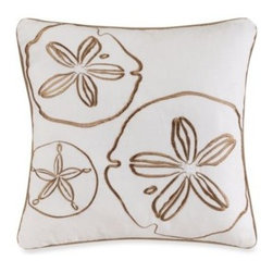 Ivy Hill Home - Solid Seashell Coral Square Toss Pillow - Give your bedroom a serene, coastal accent with this Solid Seashell toss pillow featuring sand dollars embroidered on a soothing white ground.