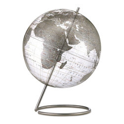 Replogle - Silver Crystal Marquise Desktop World Globe - Contemporary style world globe offers the enduring appeal of a globe, but with a thoroughly modern, visually stunning twist.
