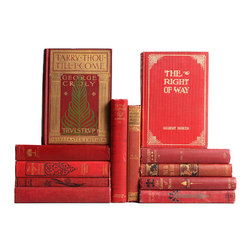 Booth and Williams - Consigned Red Victorian Literature Books, Set of 12 - Red Victorian Literature Books, S/12. Various authors and publishers: 1871-1901. Twelve antique hardcovers from the Victorian era feature gilt lettering and inlay to covers, gilt and deckled page ends and scattered black-and-white illustrations to various volumes. An eclectic blend of period novels and topical texts in muted shades of red, perfect for reading and red accent decor.