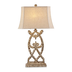 Bassett Mirror - Consuela Table Lamp - This stylish and transitional table lamp will add a chic accent to almost any decor with it's distressed parchment medallion base and cut corner rectangular shade. Give any room a warm glow with this fashionable yet functional table lamp.