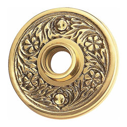Renovators Supply - Door Knob Roses Bright Solid Brass Victorian Door Knob Rose - Passage Doorknob Roses: These Bright Solid Brass, Floral Roses have a delicate pattern and our exclusive RSF finish.  This can be used with our dummy spindle knob (20152).   These will not work with pre-drilled doors. Sold in pairs, screws included.