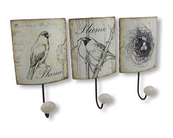 Zeckos - Set of 3 Distressed Metal Bird Themed Wall Hooks - This set of metal wall hooks adds a decorative accent to any wall in your home or office. Each hook features a black and white bird theme, with artificially distressed, shabby chic edges, black enamel coated hooks and white resin knobs. Each hook measures 8 1/4 inches long, 4 1/4 inches wide, 2 inches deep, and easily mounts to the wall with a single nail or screw by the keyhole hanger on the back. These hooks are great for hanging coats, hats, bags, or leashes, and they make a lovely housewarming gift.
