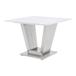 Zuri Furniture - Gray and White Mable Brushed Stainless Steel Port End Table - The Port End Table offers not only style and sophistication, but function as well. This elegant end table features a brushed stainless steel base with a smooth, rectangular white and gray marble top. This sleek table will blend harmoniously in any modern space. Pair with the Port Coffee Table to complete the look.