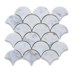 "Stone Center Corp - Carrara Marble Grand Fan Shaped Mosaic Tile Polished - Carrara White Marble big fish scale fan shaped pieces mounted on 12""x12"" sturdy mesh tile sheet"
