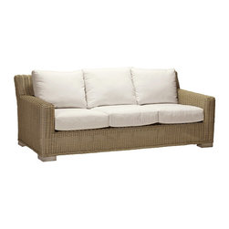 Frontgate - Rustic Outdoor Sofa with Cushions, Patio Furniture - Specially formulated high-quality resin provides superior UV resistance and is formulated for a realistic look and feel. Generously proportioned, hand-welded aluminum frames accommodate plush outdoor cushions for supreme comfort. Cushions are covered in exclusive Sunbrella fabrics, the finest solution-dyed, all-weather material available. Sectional items include matching U-clip that slides over the top of each chair sections to secure attachment. Chaise lounge features five adjustable positions for custom comfort. With its transitional design and comfortable, generously proportioned frames, the Rustic Collection by Summer Classics&reg is perfect for any outdoor location. Each piece is crafted with high-quality resin wicker that's hand-woven over durable, non-corrosive aluminum frames to create furniture that will withstand the elements season after season. . . . . . Painted surface on dining chairs and tables not recommend for saltwater environments.. Dining table requires assembly. Note: Due to the custom-made nature of the cushions, any fabric changes or cancellations made to the Rustic Collection must be made within 24 hours of ordering.