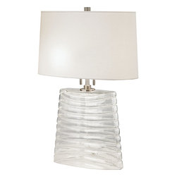 Robert Abbey - Wavy Table Lamp, Metallic Silver - Simple, elegant lighting has found its way into your bedroom. You'll want to head in there to read or write in broad daylight just so you can stare at the beautiful wavy lines, lustrous glass base and polished nickel detailing. Just wait 'til the sun goes down!
