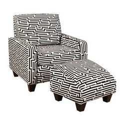 Chelsea Home Patrick Chair with Optional Ottoman - Zig Zag White - Energize your brain with the Chelsea Home Patrick Chair with Optional Ottoman - Zig Zag White. Covered in vinyl upholstery with a wild black-and-white maze pattern, this chair will soon become your favorite spot in the house for completing crosswords, Sudoku puzzles, and, of course, mazes. Perfect for use as an accent piece in your existing furniture collection, this chair has a small footprint to fit anywhere you need a little extra pizzazz. The sturdy wood frame and long-lasting Leggett & Platt sinuous springs will remain supportive for years to come, and the medium-firmness cushions are 1.8 density Dacron-wrapped for a smooth appearance. The optional matching ottoman is cleverly shaped to support the curve of your legs, letting you focus on your brain teasers.About Chelsea Home FurnitureProviding home elegance in upholstery products such as recliners, stationary upholstery, leather, and accent furniture including chairs, chaises, and benches is the most important part of Chelsea Home Furniture's operations. Bringing high quality, classic and traditional designs that remain fresh for generations to customers' homes is no burden, but a love for hospitality and home beauty. The majority of Chelsea Home Furniture's products are made in the USA, while all are sought after throughout the industry and will remain a staple in home furnishings.