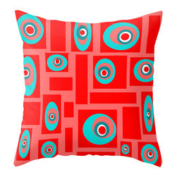 Crash Pad Designs - Modern Outdoor Pillow, Outdoor Pillow, Red and Turquoise Outdoor Pillow - Add a splash of color  to your porch, patio, or deck. Perfect in any outdoor setting. Double sided print . Fabric is a waterproof and mildew proof polyester.