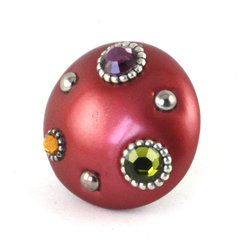 Susan Goldstick - Mini Style #6 Knob Ruby 2 In. - The Mini Style #6 Knob Ruby is colored in a rosy ruby red with an emphasis on crystals that give it a true jewel-like quality. The knob stem is painted in silver to complement the metal accents.
