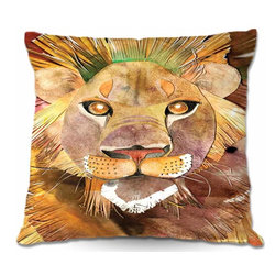 DiaNoche Designs - Pillow Linen - Lion Bright - Add a little texture and style to your decor with our Woven Linen throw pillows. The material has a smooth boxy weave and each pillow is machine loomed, then printed and sewn in the USA.  100% smooth poly with cushy supportive pillow insert with a hidden zip closure. Dye Sublimation printing adheres the ink to the material for long life and durability. Double Sided Print, machine wash upon arrival for maximum softness. Product may vary slightly from image.