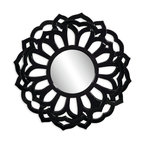 Bassett Mirror - Bassett Mirror Haiku Wall MIrror - Add a pop of sleek black to your home with the Chinese Haiku Wall Mirror. The mirror's intricate Asian-inspired pattern comes in a lustrous black and is the perfect focal piece for any contemporary or Asian-style decor.