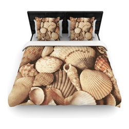 "Kess InHouse - Heidi Jennings ""Shells"" Brown Woven Duvet Cover (King, 104"" x 88"") - Add a splash of artistically inclined comfort to the average down comforter with a large focus to your bed! Our duvet cover is made of a beautifully crafted woven polyester fabric on top and a comforting and soft cotton/poly blend on bottom! We highly recommend washing your artwork before laying it onto your bed for added comfort and softness! These are totally machine washable and won't fade!"