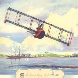 """Buyenlarge.com, Inc. - The Benoist Flying Boat, 1914- Gallery Wrapped Canvas Art 28"""" x 42"""" - Biplanes or planes with Double sets of Wings during the period of early aviation"""