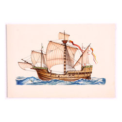 Santa Maria Original Boat Watercolor Painting - Fine attention to detail and vibrant colors characterize this stunning original watercolor of the ship Santa Maria, the largest of the three ships Christopher Columbus sailed to the New World. Unsigned. Unframed.