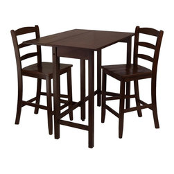 Winsome Wood - Lynnwood 3-Pc Drop Leaf High Pub Table Set - Includes table and two counter stools. Ladder back stool. Made from solid wood. Antique walnut finish. Assembly required. Seat: 16.34 in. W x 15.55 in. D x 24 in. H. Back rest : 16.44 in. W x 15.43 in. H. Stool: 16.54 in. W x 18.31 in. D x 38.98 in. H. Drop leaf: 39.37 in. L x 10.31 in. W. Minimum: 39.37 in. L x 20.7 in. W x 35.43 in. H. Maximum: 39.37 in. L x 30 in. W x 35.43 in. H