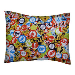 SheetWorld - SheetWorld Twin Pillow Case - Percale Pillow Case - Traffic Signs - Made in USA - Twin Pillow Case. Made of an all cotton percale fabric. Features a beautiful Traffic Signs print.