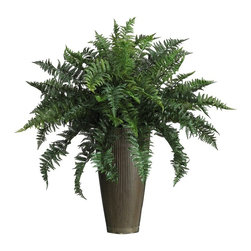 Ruffle Fern with Decorative Vase Silk Plant (Indoor/Outdoor) - With feathery fronds on every stem, this 'Florida Ruffles' is a popular favorite among ferns. Known for its full thick foliage, this silk masterpiece contains a rich blend of 48 delicately designed leaves. Compact but shapely, it's the perfect choice for those with limited space. Nestled snuggly in a sleek contemporary style vase, it makes a nice addition to both traditional and contemporary decor and is perfect for both indoor or outdoor use. Height= 36 in x Width= 31 in x Depth= 31 in