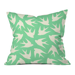 DENY Designs - Jacqueline Maldonado Birds Celadon Throw Pillow - Wanna transform a serious room into a fun, inviting space? Looking to complete a room full of solids with a unique print? Need to add a pop of color to your dull, lackluster space? Accomplish all of the above with one simple, yet powerful home accessory we like to call the DENY throw pillow collection! Custom printed in the USA for every order.