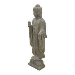 Golden Lotus - Chinese Solid Stone Hand Carving Standing Buddha Statue - Look at this Chinese standing Buddha statue which is made of stone.  It should be perfect to decorate your garden.