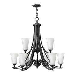Hinkley Lighting - Brantley 12-Light Chandelier - Think of a chandelier as jewelry for your ceiling. This chandelier will meet your strict guidelines for quality. Twin arm construction, oil-rubbed bronze finish and etched glass globes combine for a simply stunning piece of jewelry. Besides, aren't you worth it?