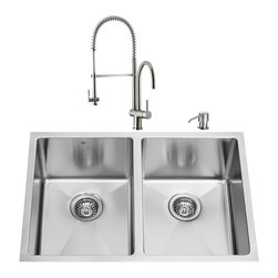 """VIGO Industries - VIGO All in One 29-inch Undermount Stainless Steel Double Bowl Kitchen Sink and - Create an inviting new look in your kitchen with a VIGO All in One Kitchen Set featuring a 29"""" Undermount kitchen sink, faucet, soap dispenser, two matching bottom grids and two sink strainers."""