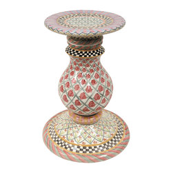 Carousel Pedestal Table Base | MacKenzie-Childs - Set a foundation for fun, stylish dining with our handcrafted Carousel Pedestal Table Base. Handsome curves and vibrant patterns hand-painted by our master artisans present signature Courtly Checks®, bright latticework intertwined with rose blossoms, stripes and swirls, all with the joy and energy of a beloved neighborhood merry-go-round. Add a glass top and this majolica table base will keep the conversation lively.