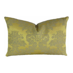 "Interior Nature - Italian Silk Damask Pillow, Decorative Throw Pillows - A luxurious vintage Venetian silk/linen damask direct from Italy in the early 1970s. This style cannot be purchased elsewhere today. Price is for single pillow. More pillows and bolsters can be made to order. Yellow gold and taupe. 100% Kravet silk backing. Cuddle down inserts (micro-poly cluster fill) mimic the qualities of down. Hypoallergenic. 12"" x 19""."