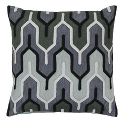 "Surya - Surya 18 x 18 Decorative Pillow, Blue, Green and Mauve (AR112-1818P) - Surya AR112-1818P 18"" x 18"" Decorative Pillow, Blue, Green and Mauve"
