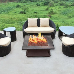 Custom Monterey Square Fire Pit and Natural Wicker Seating -
