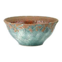"Blue Ceramic Bowl, Blue - Whether alone or grouped, this stunning distressed blue ceramic bowl is a fascinating accent for any home. With a repeating stylized open heart motif this 13"" round bowl tapers toward the base to create a beautiful silhouette. Fill a few and place them on your sideboard - or create a rustic centerpiece that your guests will envy with this striking blue ceramic bowl."