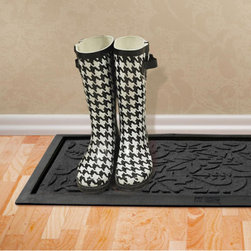 "Grandin Road - Fall Day Boot Tray - The unique ridged construction effectively removes and traps dirt and moisture.. Exclusive, rubber-reinforced face nubs prevent the pile from crushing and extend life.. Other commercial-quality features include anti-static, quick-drying, and fade-resistant properties.. Ultra-slim, 1/4""H pile slips easily beneath most doors. Easily vacuumed or hosed clean. Give wet, muddy, or snowy boots and shoes an attractive place to call home with our rugged Fall Day Boot Tray. The very same, exceptional weather-defying properties of outdoor mats brought indoors to stylishly protect your floors.  .  .  .  .  . Crafted to endure from premium polypropylene with a non-skid rubber backing. . Made in the USA."