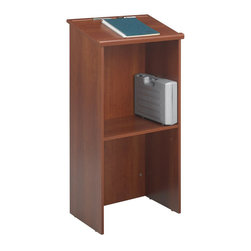 "Safco - Safco Stand-Up Lectern in Cherry - Safco - Lectern - 8915CY - Reading surface measures 23""W x 15-3/4""D and slopes at a 15 degree angle. Round molding serves as a paper stop. Height adjustable open storage shelf holds equipment cases and supplies. Floor glides included. Quick and easy assembly with cam-lock fasteners."