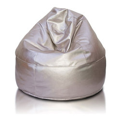 Turbo BeanBags - Beanbag Cake Premium, Silver Pu Leather Delux, Filled Bag - Cake Premium is a very elegant and stylish seat from Turbo BeanBags.