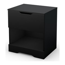 South Shore - Night Stand in Pure Black - Accessories and tools not included. Contemporary style. One practical drawers and practical open storage space. Non-toxic laminated particle boards. Cut-out handles at the top of the drawers. Metal slides for smooth gliding. Warranty: Five years limited. Made in Mexico. Assembly required. 21 in. W x 16.5 in. D x 23.25 in. H (32 lbs.). Assembly Instructions