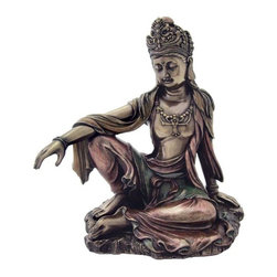 TLT - 7.25 Inch Water and Moon Quan Yin in Royal Ease Pose Figurine, Bronze - This gorgeous 7.25 Inch Water and Moon Quan Yin in Royal Ease Pose Figurine, Bronze has the finest details and highest quality you will find anywhere! 7.25 Inch Water and Moon Quan Yin in Royal Ease Pose Figurine, Bronze is truly remarkable.